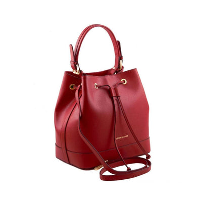 Minerva Saffiano Leather Secchiello Bag - Red side view