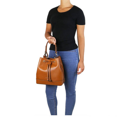 Minerva Saffiano Leather Secchiello Bag - Model