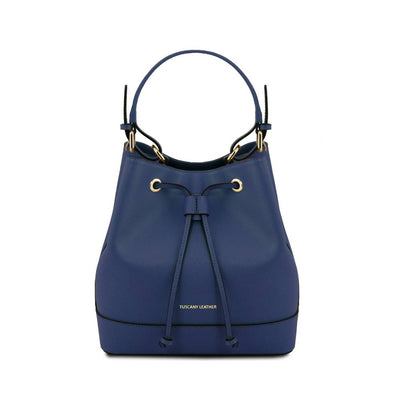 Minerva Saffiano Leather Secchiello Bag - Dark Blue