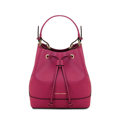 Minerva Saffiano Leather Secchiello Bag - Magenta