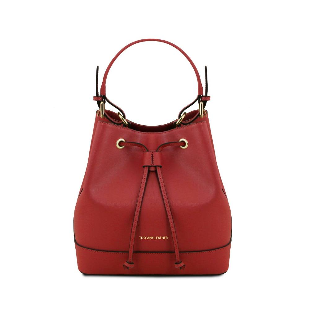 Minerva Saffiano Leather Secchiello Bag - Red