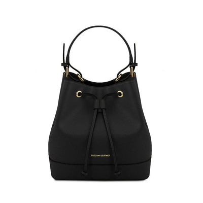 Minerva Saffiano Leather Secchiello Bag - Black