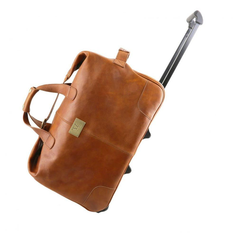Honey leather luggage bag