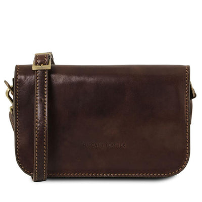 Carmen Leather Shoulder Bag Leather Clutch TUSCANY LEATHER Dark Brown