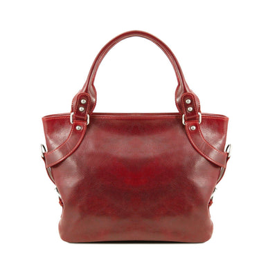 Ilenia Leather Shoulder Bag Leather Handbag TUSCANY LEATHER Red