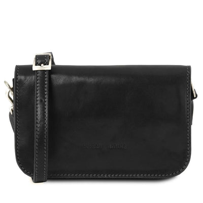 Carmen Leather Shoulder Bag Leather Clutch TUSCANY LEATHER Black