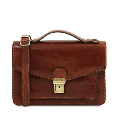 Eric Crossbody Leather Bag Leather Shoulder Bag TUSCANY LEATHER Brown