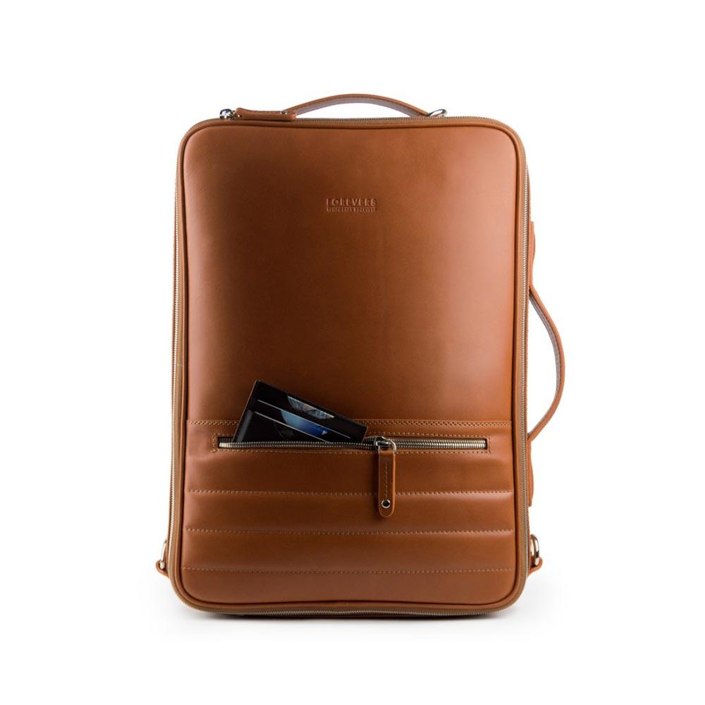Rum leather backpack
