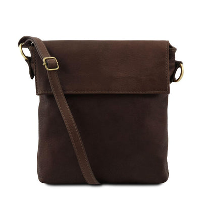 Morgan Leather Crossbody Bag Leather Shoulder Bag TUSCANY LEATHER Dark Brown