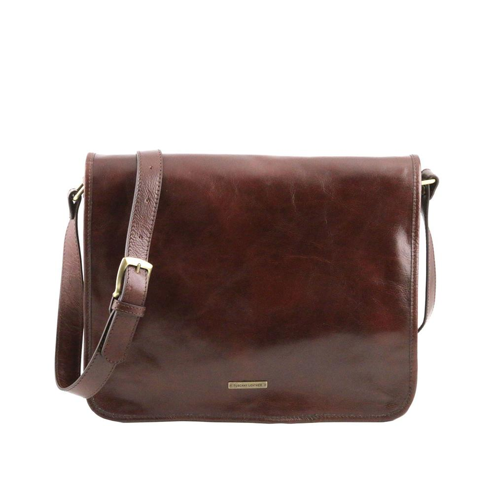 "Messenger 13"" Laptop Bag Leather Laptop Bag TUSCANY LEATHER Brown"