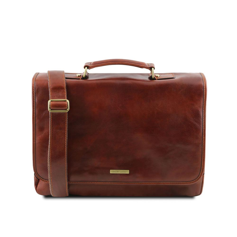 Mantova Laptop Bag Leather Laptop Bag TUSCANY LEATHER Brown