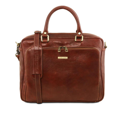 Pisa Laptop Bag Leather Laptop Bag TUSCANY LEATHER Brown