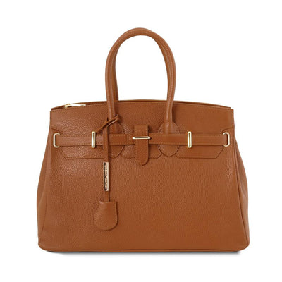 TL Classica Leather Handbag Leather Handbag TUSCANY LEATHER Cognac