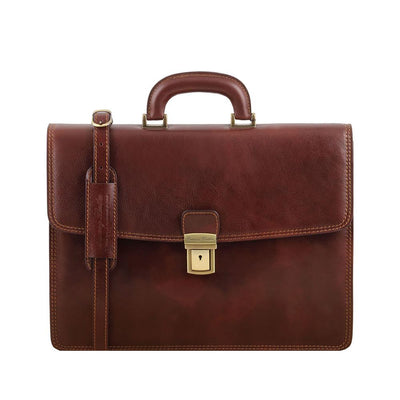 Amalfi Briefcase Leather Briefcase TUSCANY LEATHER Brown