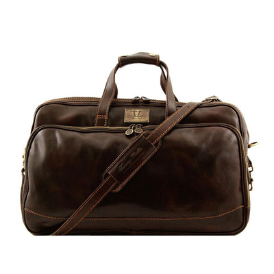 Bora Bora Small Leather Trolley Bag Leather Luggage Bag TUSCANY LEATHER Dark Brown