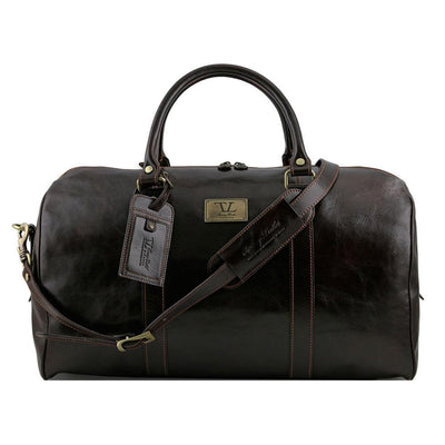 Large Voyager Leather Duffle Bag Leather Duffle Bag TUSCANY LEATHER Dark Brown