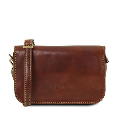 Carmen Leather Shoulder Bag Leather Clutch TUSCANY LEATHER Brown