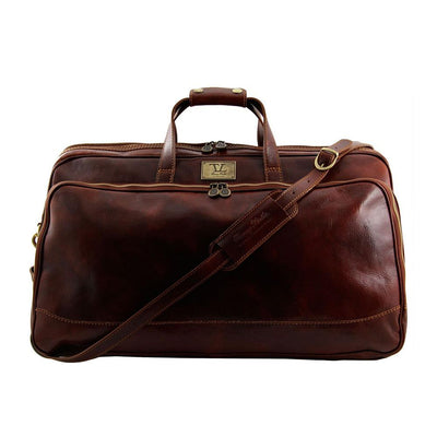 Bora Bora Large Leather Trolley Bag Leather Luggage Bag TUSCANY LEATHER Brown