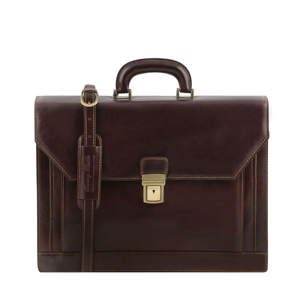 Roma Briefcase Leather Briefcase TUSCANY LEATHER Dark Brown