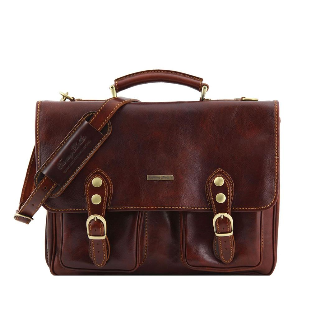 Modena Briefcase Leather Briefcase TUSCANY LEATHER Brown