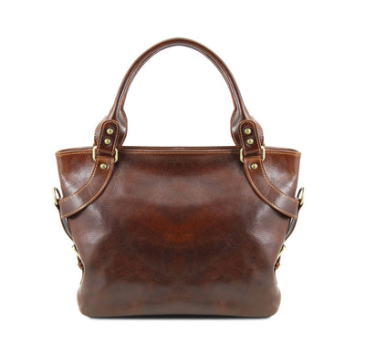 Ilenia Leather Shoulder Bag Leather Handbag TUSCANY LEATHER Brown