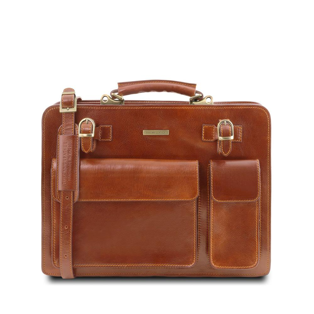 Venezia Briefcase Leather Briefcase TUSCANY LEATHER Honey