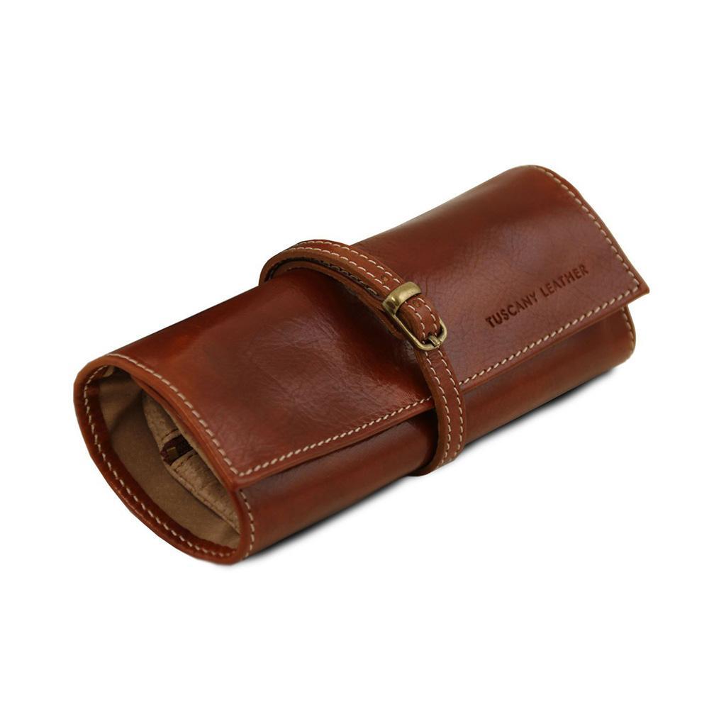 Exclusive Leather Jewellery Case Leather Jewellery Case TUSCANY LEATHER Brown