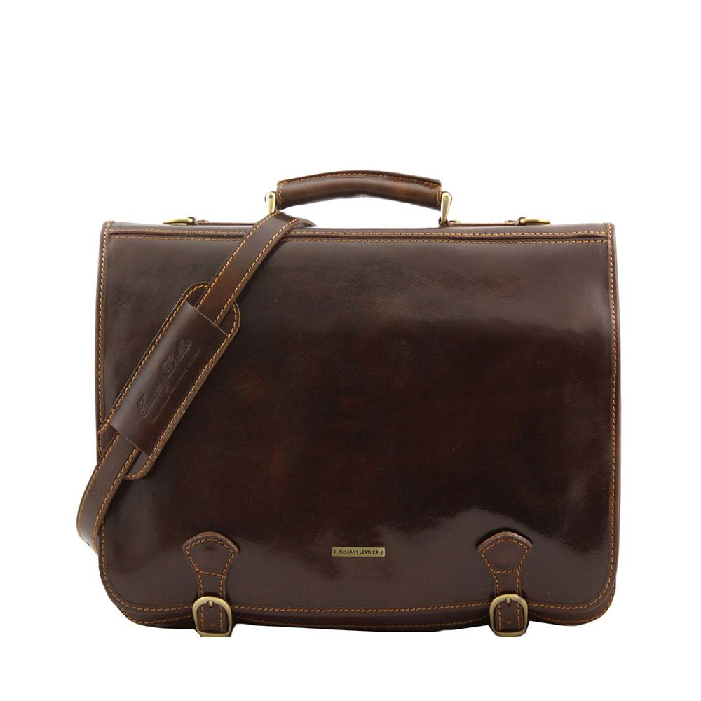 Ancona Leather Briefcase Leather Laptop Bag TUSCANY LEATHER Dark Brown