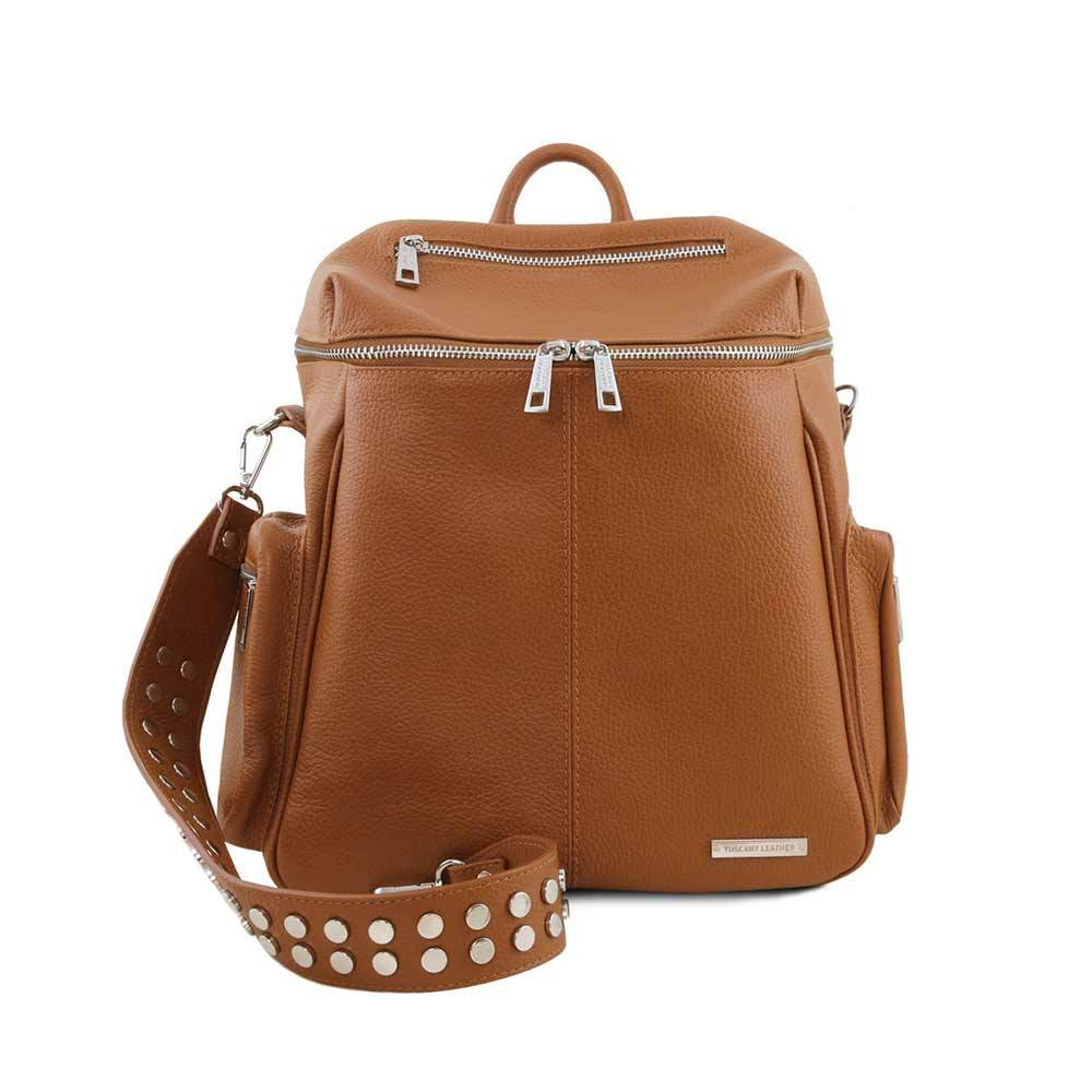 Cognac Leather Backpack