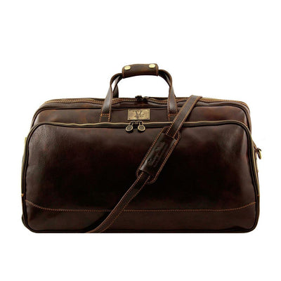 Bora Bora Large Leather Trolley Bag Leather Luggage Bag TUSCANY LEATHER Dark Brown