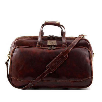 Bora Bora Small Leather Trolley Bag Leather Luggage Bag TUSCANY LEATHER Brown