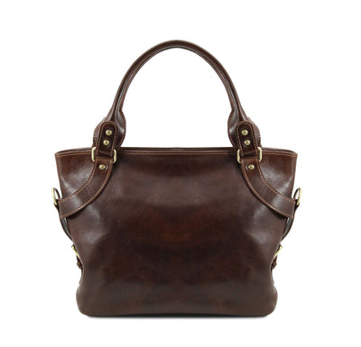 Ilenia Leather Shoulder Bag Leather Handbag TUSCANY LEATHER Dark Brown