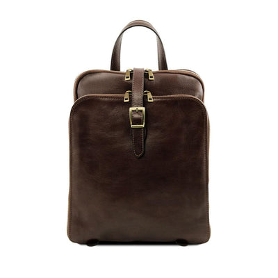 Taipei Leather Backpack Leather Backpack TUSCANY LEATHER Dark Brown