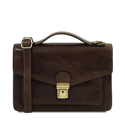 Eric Crossbody Leather Bag Leather Shoulder Bag TUSCANY LEATHER Dark Brown