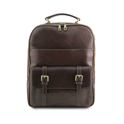 Nagoya Leather Laptop Backpack Leather Backpack TUSCANY LEATHER Dark Brown