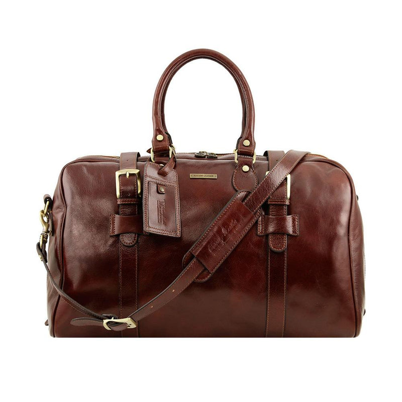 Compact Duffle Bag Leather Duffle Bag TUSCANY LEATHER