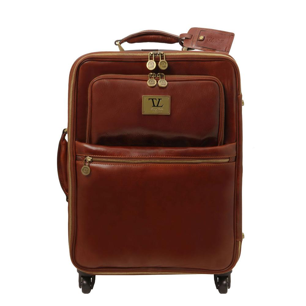 TL Voyager 4 Wheel Vertical Leather Trolley Leather Luggage Bag TUSCANY LEATHER