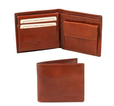 3 Fold Leather Wallet with coin pocket Leather Wallet TUSCANY LEATHER Brown