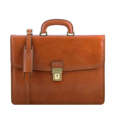Amalfi Briefcase Leather Briefcase TUSCANY LEATHER Honey