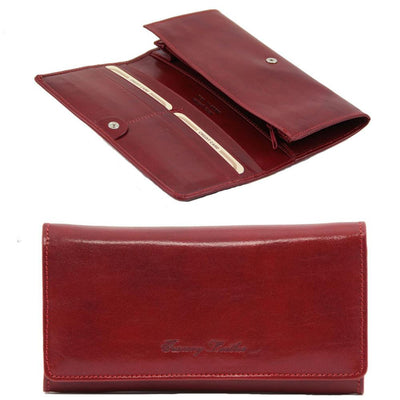 Women's Accordion Leather Wallet Leather Wallet TUSCANY LEATHER Red