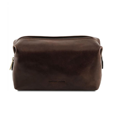 Smarty Leather Toiletry Bag - Large Leather Toiletry Bag TUSCANY LEATHER Dark Brown