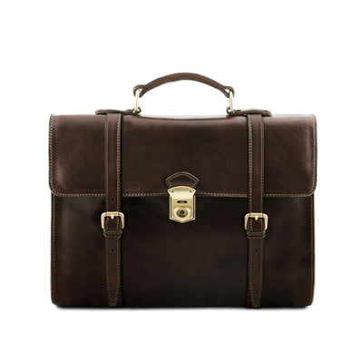 Viareggio Laptop Bag Leather Laptop Bag TUSCANY LEATHER Dark Brown