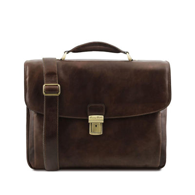 Allesandria Leather Briefcase Leather Laptop Bag TUSCANY LEATHER Dark Brown