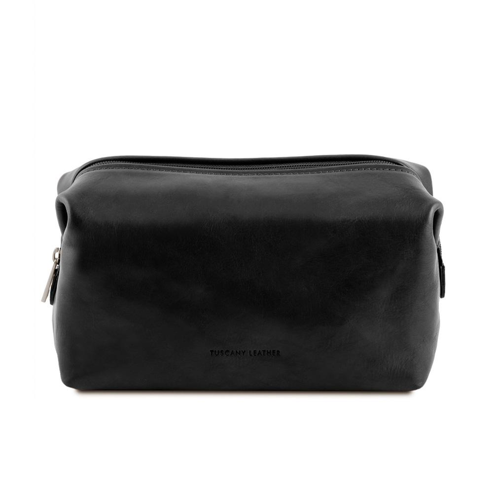 Smarty Leather Toiletry Bag - Large Leather Toiletry Bag TUSCANY LEATHER Black