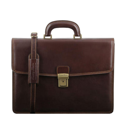Amalfi Briefcase Leather Briefcase TUSCANY LEATHER Dark Brown