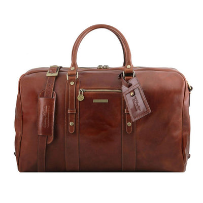Voyager Leather Travel Bag Leather Duffle Bag TUSCANY LEATHER Brown