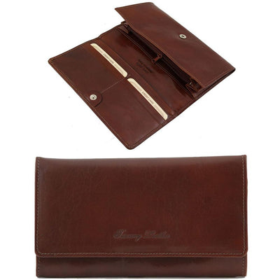 Women's Accordion Leather Wallet Leather Wallet TUSCANY LEATHER Brown