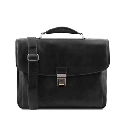 Allesandria Leather Briefcase Leather Laptop Bag TUSCANY LEATHER Black