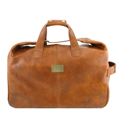 Barbados Leather Trolley Bag Leather Luggage Bag TUSCANY LEATHER Honey