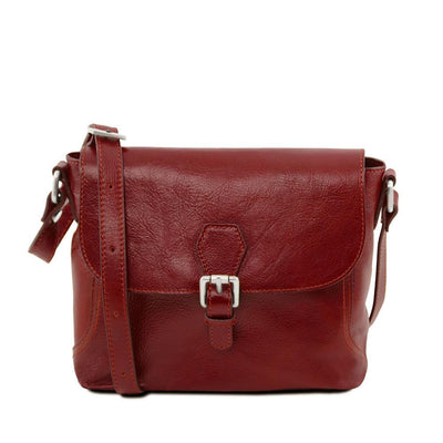 Jody Leather Shoulder Bag Leather Handbag TUSCANY LEATHER Red